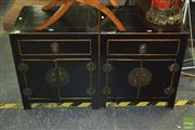 Sale 8326 - Lot 1234 - Pair of Oriental Ebonised Bedside Cabinets