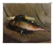 Sale 8473A - Lot 76 - Gve Durand, French School, 1863-1938 - Still Life, Fish canvas size 50 x 61cm