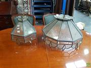 Sale 8566 - Lot 1348 - Pair of Leadlight Hanging Light Fittings