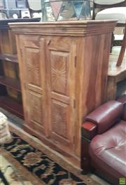 Sale 8593 - Lot 1069 - Carved 2 Door Tall Boy