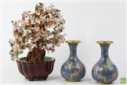 Sale 8603 - Lot 34 - A Pair Of Cloisonne Vases And a Semi-Precious Stone Bonsai