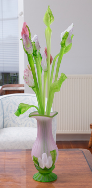 Sale 8677B - Lot 675 - An Italian glass floral display of jack in a pulpit in a pink and green vase.
