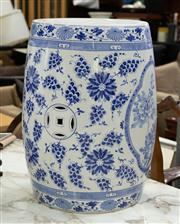 Sale 8746 - Lot 1038 - A Chinese blue and white porcelain drum shaped garden stool, marked to base