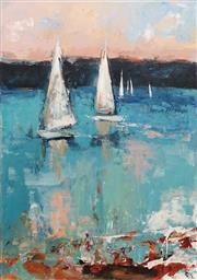 Sale 8813 - Lot 538 - Cheryl Cusick - Boats on the Bay 122 x 91cm
