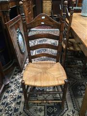 Sale 8882 - Lot 1006 - Set of Six French Beech Ladder Back Dining Chairs, with rush seats & turned legs & stretchers