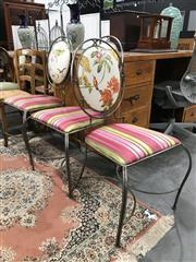 Sale 8889 - Lot 1352 - Set of 3 Metal Chairs with Upholstered Seats