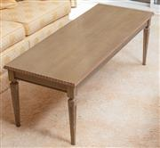 Sale 9071H - Lot 24 - An olive painted coffee table with carved top on square tapering legs, Height 43cm x Width 122cm x Depth 47cm