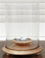 Sale 9081H - Lot 20 - A large contemporary glass candle holder on timber base