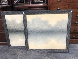 Sale 9139 - Lot 2068 - A pair of misty lake scene paintings by an unknown artist, frame: 91 x 96 cm each, unsigned