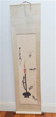 Sale 8308A - Lot 135 - A Chinese water colour painting scroll of five playing rats, signed, L210cm, W 48cm
