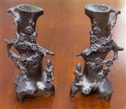 Sale 8346A - Lot 71 - A pair of Chinese cast bronze vases with prunus, H 16cm