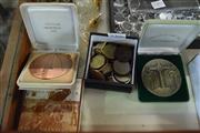 Sale 8405 - Lot 2306 - Two Commemorative Medals Vietnam Memorial 1992 and Battle of Long Tan 25th Anniversary with Small Box of Coins Inc Pennies