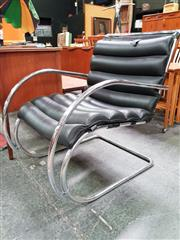 Sale 8476 - Lot 1041 - Pair of Mies Van Der Rohe Leather Upholstered Chrome Based Lounge Chairs