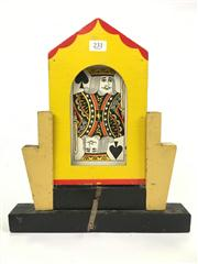 Sale 8539M - Lot 231 - Card Tricks! 3 hand-made props and a deck of oversized cards. Tallest 32cm