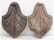 Sale 8644A - Lot 51 - Four and another (as found) concrete roof tiles of leaf design, ex All Saints Hunters Hill.