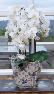 Sale 8677B - Lot 673 - A blue and white jardiniere containing faux orchids together with another