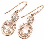 Sale 8937 - Lot 382 - A PAIR OF 18CT ROSE GOLD MORGANITE AND DIAMOND EARRINGS; each a cluster featuring an oval cut morganite surrounded by round brillian...