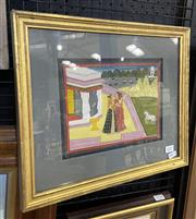 Sale 9004 - Lot 2037 - Indian Miniature depicting Two Women in Royal Garden, with inscription verso (frame: 32 x 38cm)
