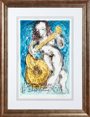 Sale 9020H - Lot 3 - David Boyd (1924 - 2011) - Nude with Guitar frame size 105 x 81.5 cm
