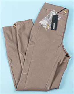 Sale 9091F - Lot 242 - A PAIR OF JUST CAVALLI brown pants with gold zip to hem, size 40