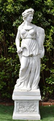 Sale 9087H - Lot 95 - A large hand carved marble statue of Summer. Total height: 2.3m, Statue height: 1.8m, Plinth height: 50cm. Plinth: 48cm depth 63cm w...