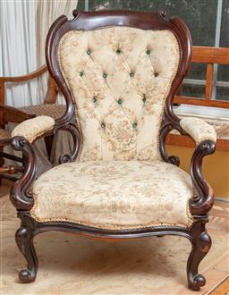 Sale 9120H - Lot 192 - A C19th mahogany tapestry upholstered button back elbow chair of generous proportions, Height of back 95cm