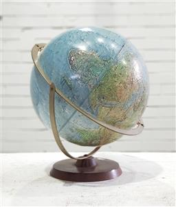 Sale 9121 - Lot 1050 - Topographical world globe on timber stand