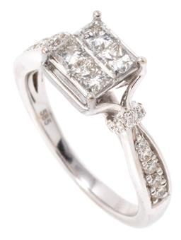 Sale 9149 - Lot 420 - A 14CT WHITE GOLD DIAMOND RING; top invisible set with 4 princess cut diamonds totalling approx. 0.60ct to fancy shoulders set with...