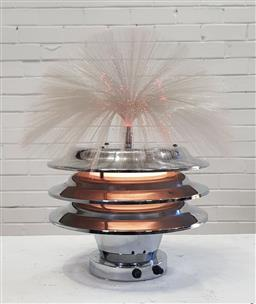 Sale 9151 - Lot 1046 - Art deco chrome beehive form fibre optic table lamp (h:50cm)