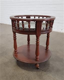 Sale 9151 - Lot 1162 - Mahogany occasional table on wheels  (h:61 dia:52cm)