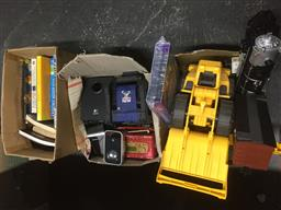 Sale 9152 - Lot 2479 - 3 Boxes of Sundries incl. Books, Toys, Electrical items