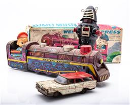 Sale 9185 - Lot 53 - Collection of vintage toys inc Western Express train (L:33cm), Planet Robot (H:22cm), friction powered tin car station wagon (L:14...