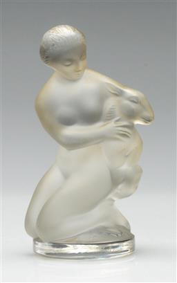 Sale 9211 - Lot 64 - A Lalique Crystal Figure of Lady and Lamb (H:12cm)