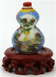 Sale 8079 - Lot 60 - Glass Painted Double Gourd Snuff Bottle on Stand