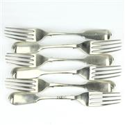 Sale 8239 - Lot 51 - English Hallmarked Sterling Silver Victorian Set of Six Forks