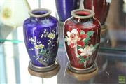 Sale 8256 - Lot 18 - Cloisonne Pair of Floral Vases on Stands