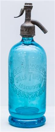 Sale 8287A - Lot 93 - A Jules Turpin French soda syphon, early piece in stunning light teal blue, 31cm high
