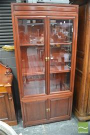 Sale 8291 - Lot 1017 - Chinese Rosewood Display Cabinet, with glazed upper section with two doors & two timber panel doors below