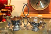 Sale 8330T - Lot 170 - Silver Plated Floral Shaped Strawberry Server with Floral Detail & 2 Removable Bowls