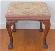Sale 8470H - Lot 320 - A Georgian style stool with needle work upholstery with an armorial unicorn on coronet, raised on cabriole legs, H 42cm