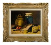 Sale 8473A - Lot 77 - Le Roux, C19th French School - Still Life with Fish 33 x 41cm