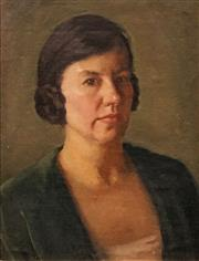 Sale 8642 - Lot 580 - Attributed to Percival (Percy) Leason (1889 - 1959) - Portrait of a Woman 45 x 34.5cm