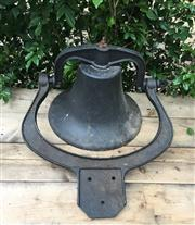 Sale 8706A - Lot 84 - A black post bell with bracket, H 30 x W 44cm