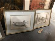 Sale 8819 - Lot 2091 - Artist Unknown (2 works): Coastal Home; Boat, ink and watercolour drawings, each 16 x 24cm, unsigned -