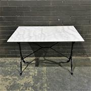 Sale 8975K - Lot 55 - Kitchen Table with White Marble Top above Cast Iron Base - 100x60cm