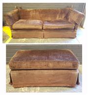 Sale 8979 - Lot 1074 - Moran Fabric Two-Seater Lounge together with Matching Ottoman (Sofa - H:85 x L:215 x D:91cm)