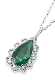 Sale 9083 - Lot 457 - AN 18CT WHITE GOLD EMERALD AND DIAMOND PENDANT NECKLACE; featuring a long pear cut emerald of approx. 12.40ct surrounded by 10 round...