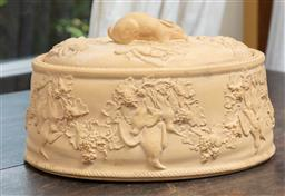 Sale 9120H - Lot 193 - A C19th Wedgwood caneware lidded game tureen with Rabbit finial and grapevine decorations to side with a ceramic liner (liner cracke...