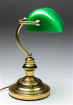 Sale 9156 - Lot 251 - Brass bankers lamp with green glass shade (H:36cm) - large chip to front of shade