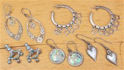Sale 9165H - Lot 118 - Five pairs of silver earrings, including a mother of pearl example.